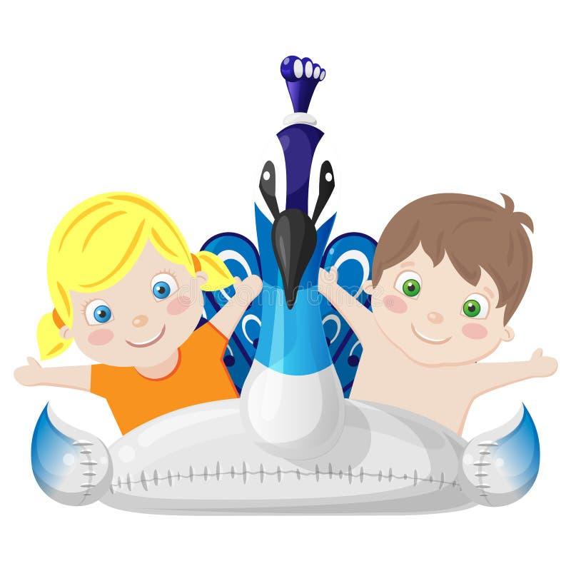 Flotador inflable con los niños - estilo del pavo real de la historieta de la vista delantera ilustración del vector