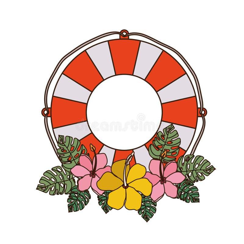 Flotador salvavidas en el fondo blanco stock de ilustración