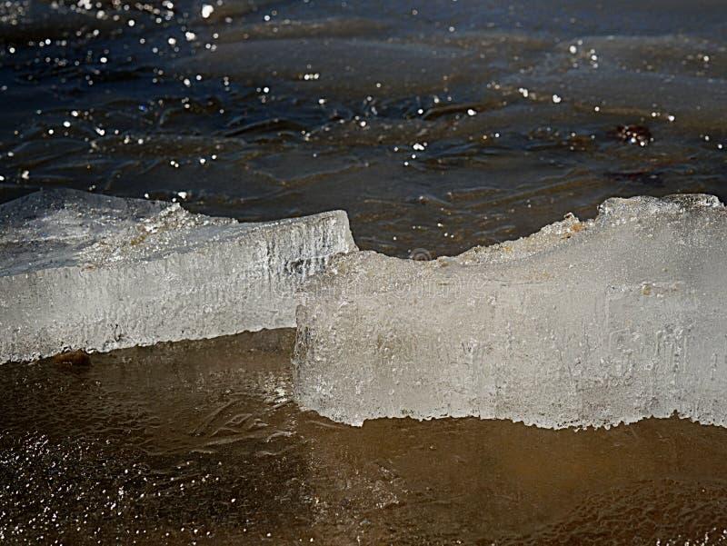 Flotadores de la masa de hielo flotante de hielo en la superficie del agua de manatial limpia Hielo que brilla foto de archivo libre de regalías