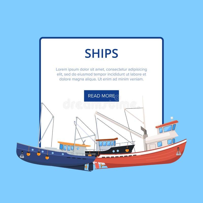 Flotilla marino del vintage del cartel de las naves ilustración del vector