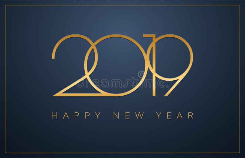 Flott 2019 bakgrund för lyckligt nytt år Guld- design för Christm royaltyfri illustrationer