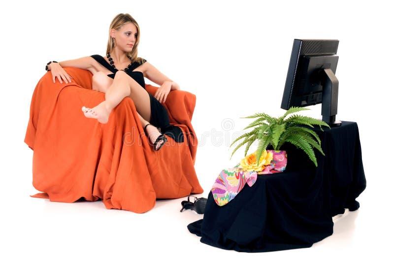 flott ladytelevision royaltyfri foto