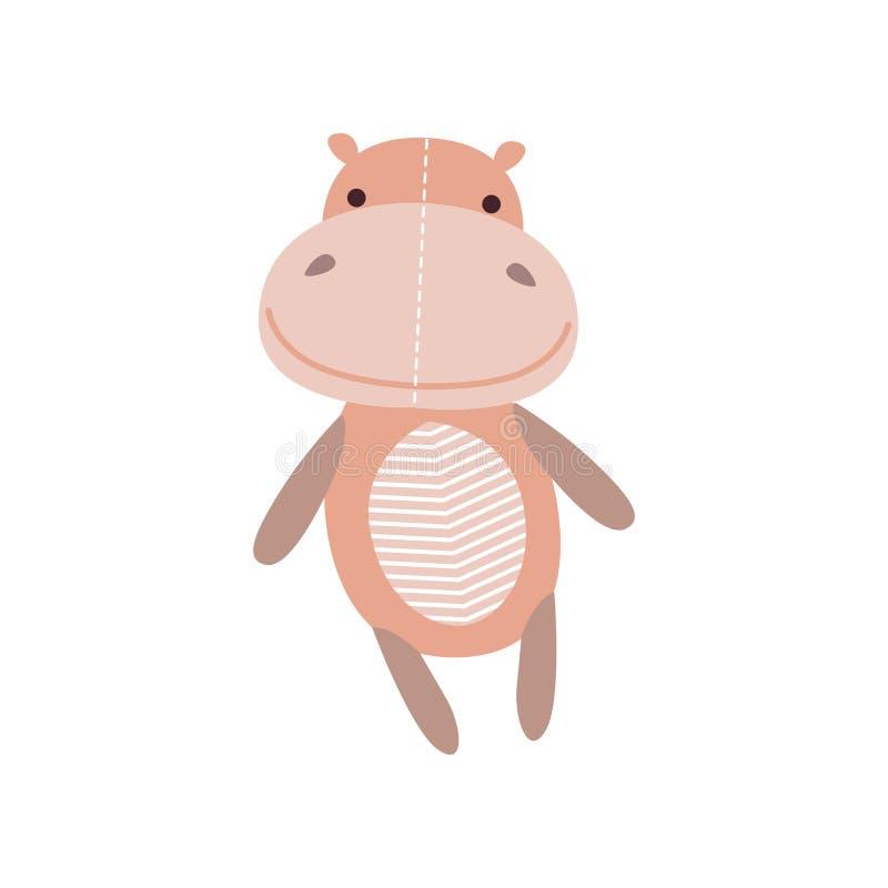 Flott leksak för gullig mjuk flodhäst, djur vektorillustration för välfylld tecknad film stock illustrationer
