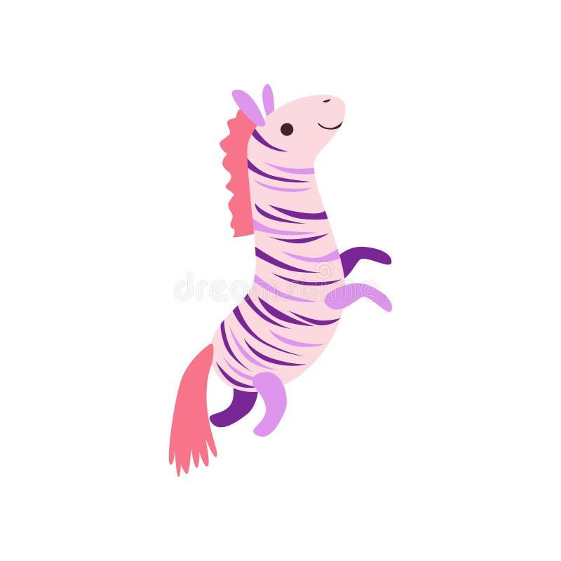 Flott leksak för gullig mjuk sebra, djur vektorillustration för välfylld tecknad film stock illustrationer