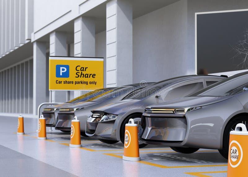 Flotta av autonoma medel i parkeringsplatsen för att dela royaltyfri illustrationer