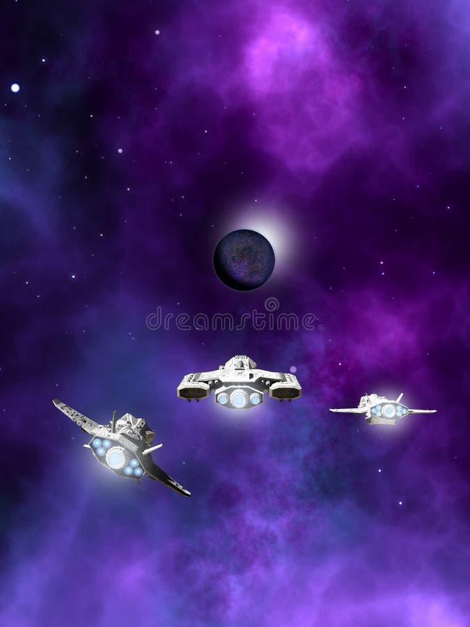 Flotta av rymdskepp som att närma sig en planetarisk nebulosa stock illustrationer