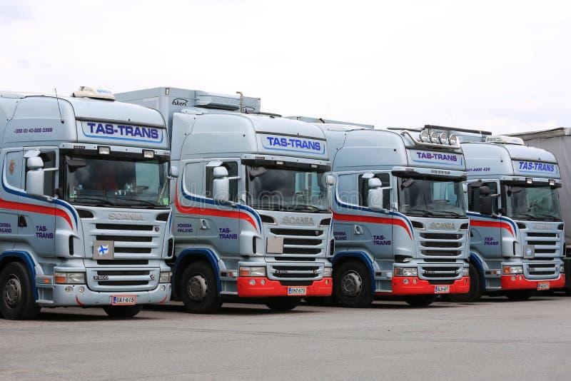 Flotta dei camion di Scania fotografie stock