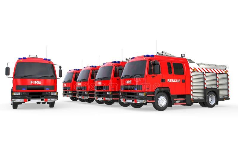 Flotta di camion dei vigili del fuoco illustrazione di stock