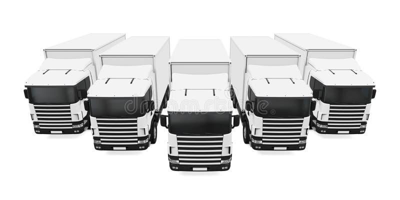 Flotta di camion isolata illustrazione di stock