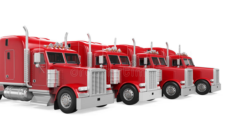 Flotta di camion isolata royalty illustrazione gratis