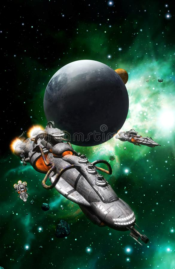 Flotta e luna dell'astronave illustrazione di stock