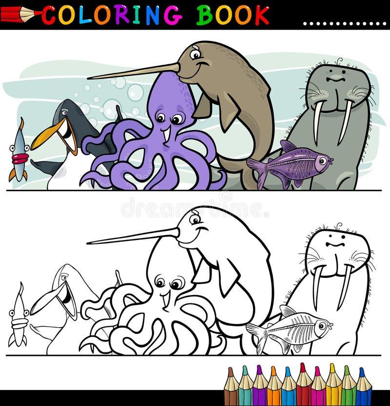 Flotta- och havslivstidsdjur för färgläggning royaltyfri illustrationer