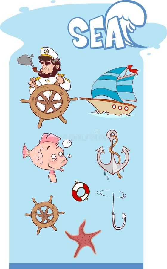 Flotta, segling och havssymbolsvektor royaltyfri illustrationer
