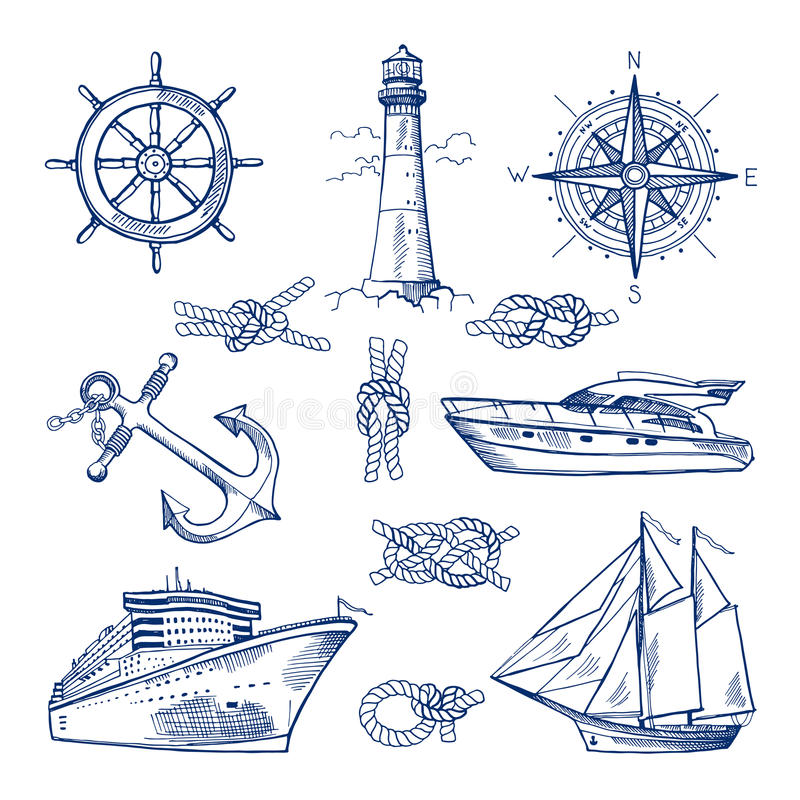 Flottaklotter ställde in med skepp, fartyg och nautiska ankaren Vektorillustrationer i hand dragen stil stock illustrationer