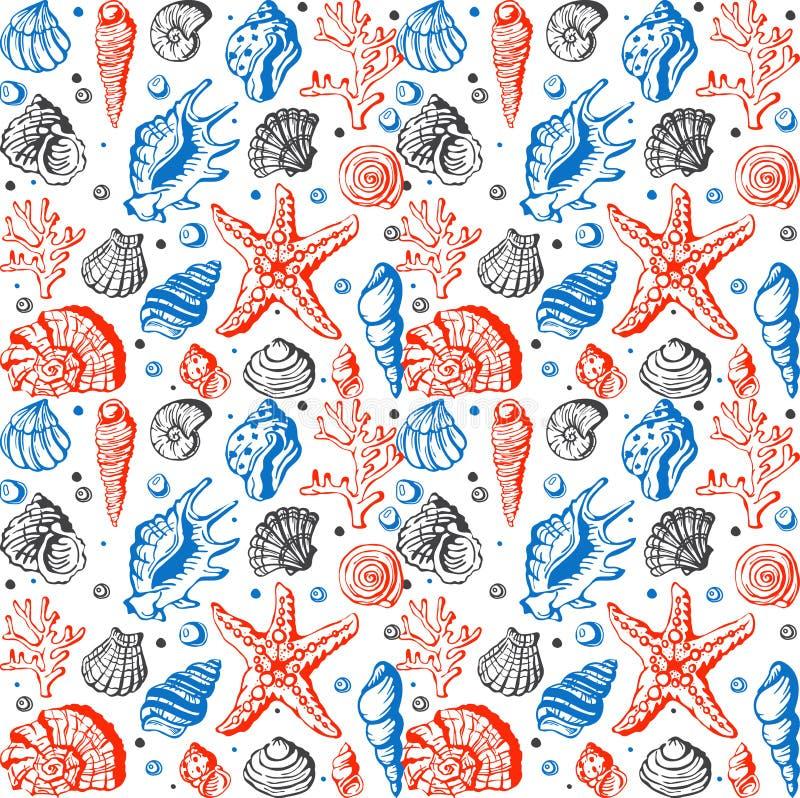 Flottan för havsliv beskjuter, korall och den undervattens- för stilvektor för stjärnor handen dragen bakgrund för modell sömlös stock illustrationer
