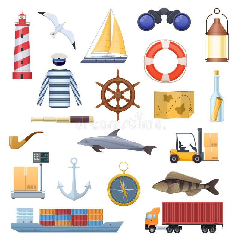 Flottauppsättning av objekt, symboler, logoer Lopp navigering, turism vektor illustrationer