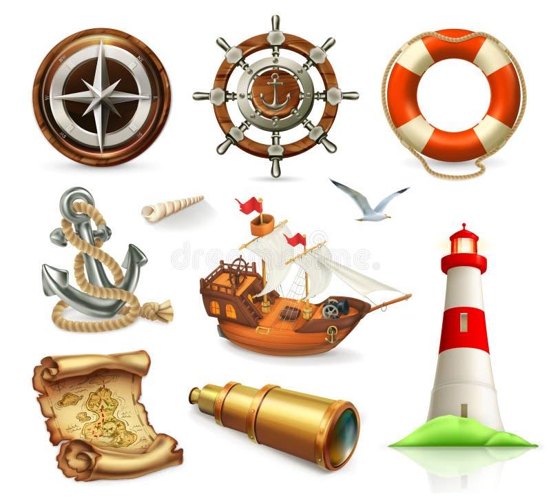 Flottauppsättning Symboler för vektor för sommarsemester vektor illustrationer