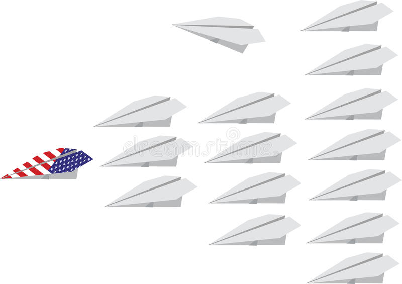 Flotte aérienne blanche un avion américain illustration stock