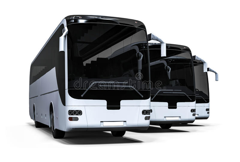 Flotte blanche d'autobus illustration stock