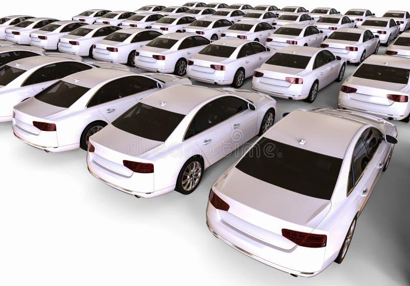 Flotte blanche de voiture illustration de vecteur