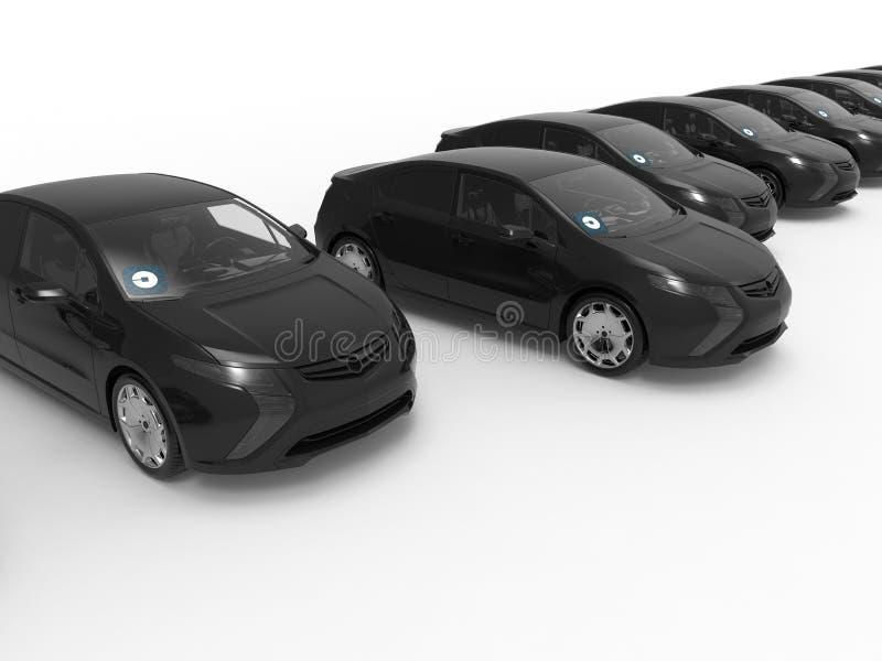 Flotte de voiture de noir d'Uber illustration stock