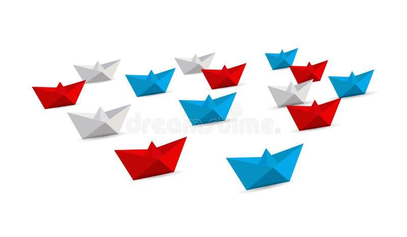 Flotte Origamipapierboote Schach stellt Bischöfe dar stock abbildung