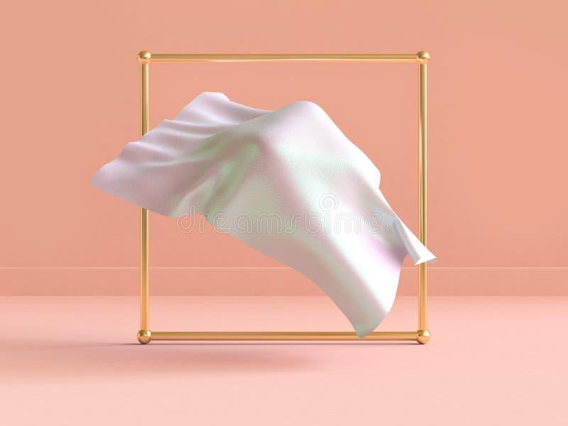 flottement blanc de tissu de scène d'or cadre de rendu Crème-orange de l'abrégé sur 3d illustration de vecteur