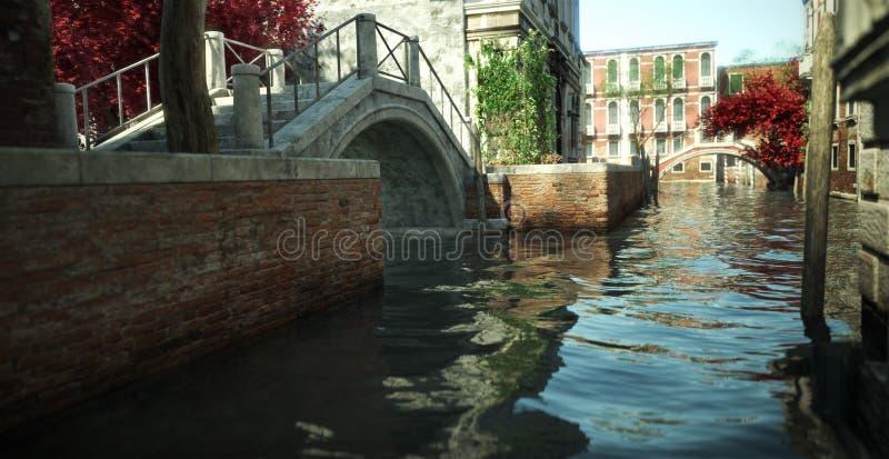 Flottement dans le canal de l'architecture romantique enchanteresse et des voies d'eau de l'Italie photos libres de droits