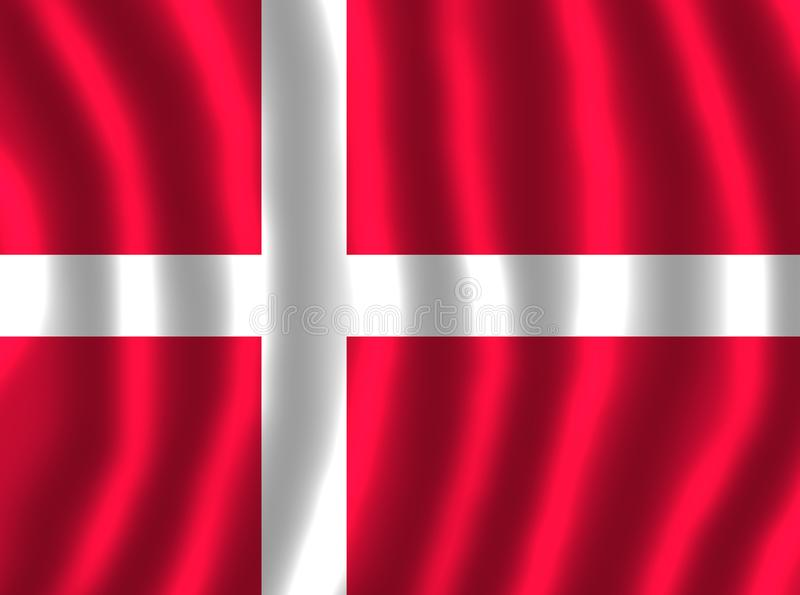 FLOTTEMENT DE DRAPEAU DU DANEMARK illustration stock