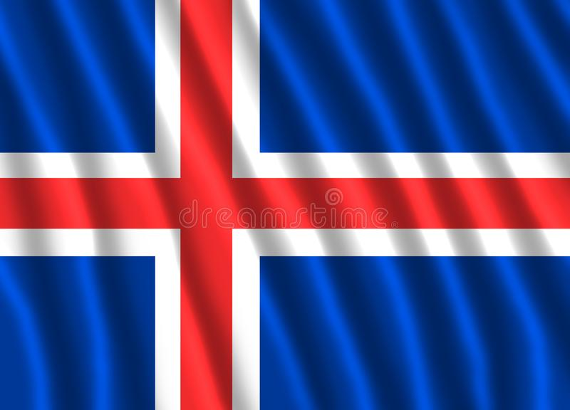 FLOTTEMENT DE DRAPEAU DE L'ISLANDE illustration stock