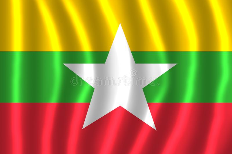 FLOTTEMENT DE DRAPEAU DE MYANMAR illustration de vecteur