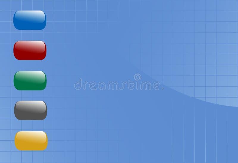 Flotteur brillant de boutons sur le fond bleu de réseau illustration stock