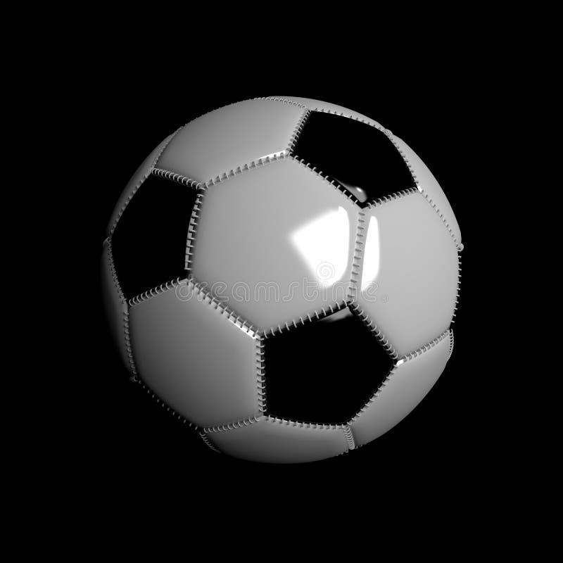 flotteur de ballon de football 3D réaliste sur le fond noir image stock