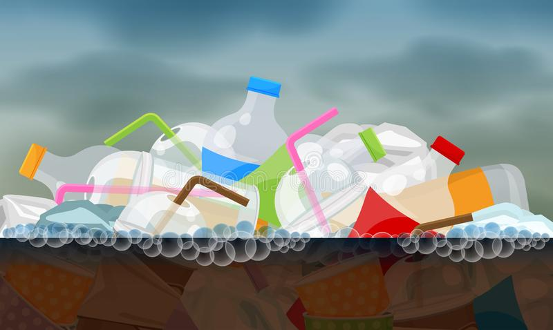 Flotteur de rebut en plastique sur la surface sale putréfiée de l'eau, rivière de pollution d'environnement de concept, déche illustration stock