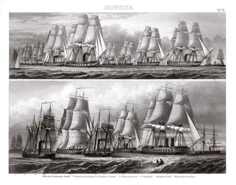 Flottiglia delle navi da guerra tedesche dentro a gonfie vele fotografia stock