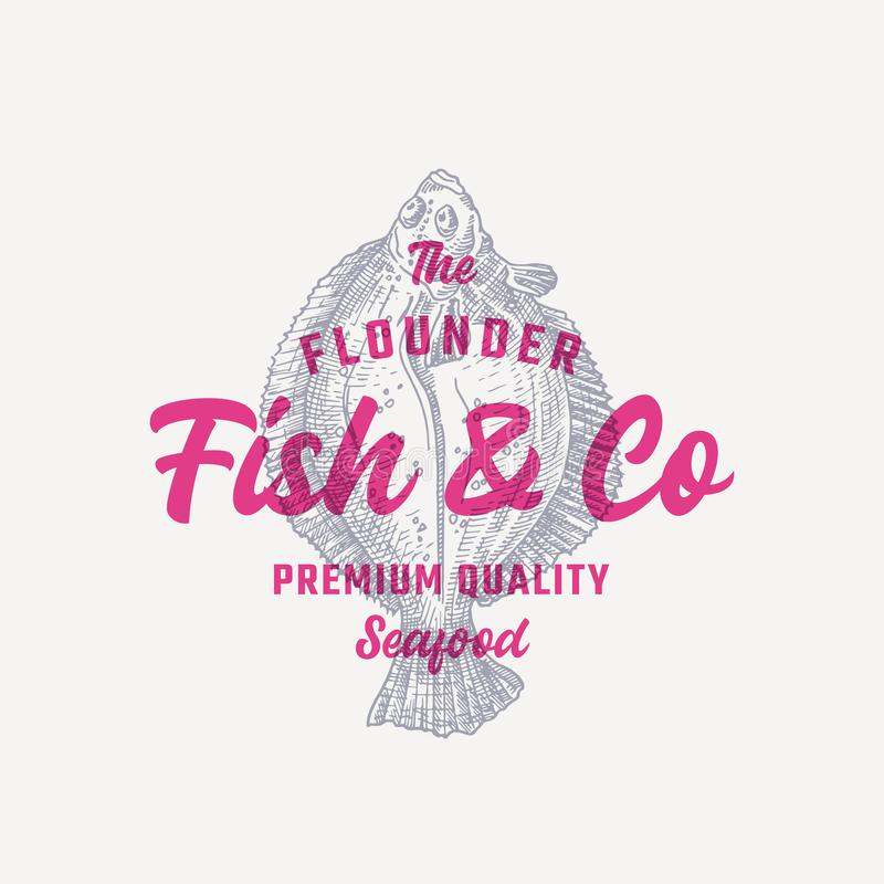 The Flounder Fish and Company. Abstract Vector Sign, Symbol or Logo Template. Hand Drawn Flatfish with Premium Retro royalty free illustration
