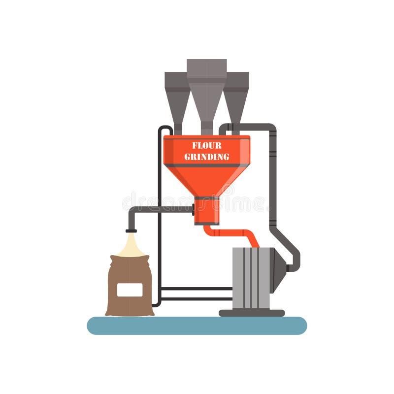 Flour меля оборудование, этап иллюстрации вектора производственного процесса хлеба на белой предпосылке иллюстрация вектора