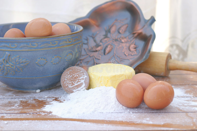 Flour, Butter, and Eggs with Rolling Pin stock photos