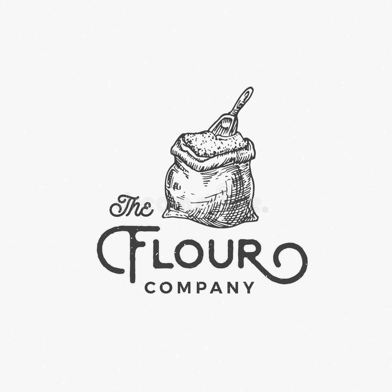 Flour Company Abstract Vector Sign, Symbol or Logo Template. Flour Bag or Sack with Scoop Sketch Drawing and Retro vector illustration