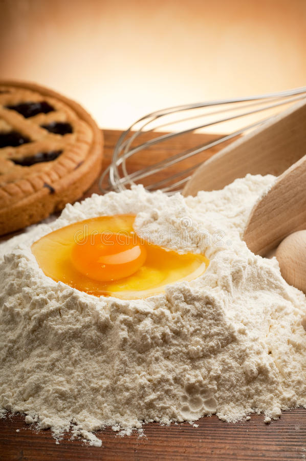 Flour and egg stock images