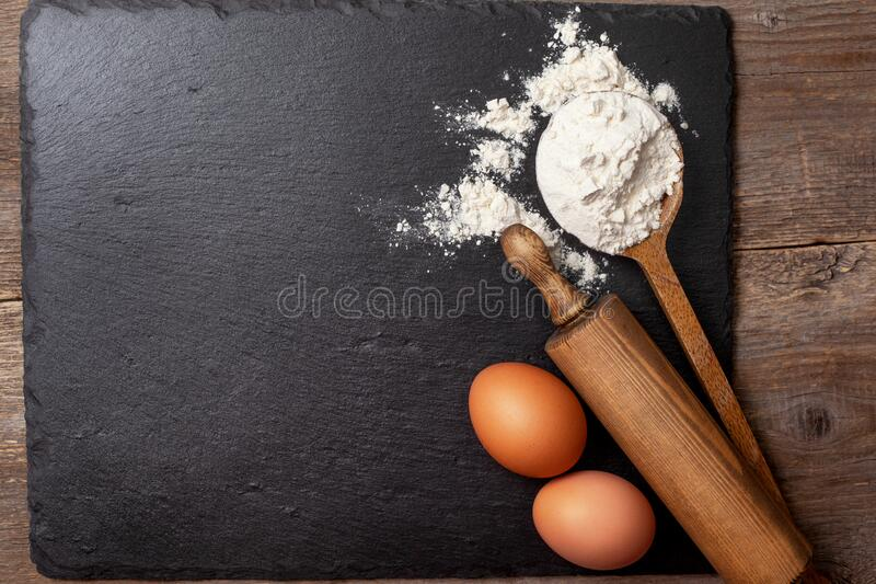 Flour and eggs for baking stock photography