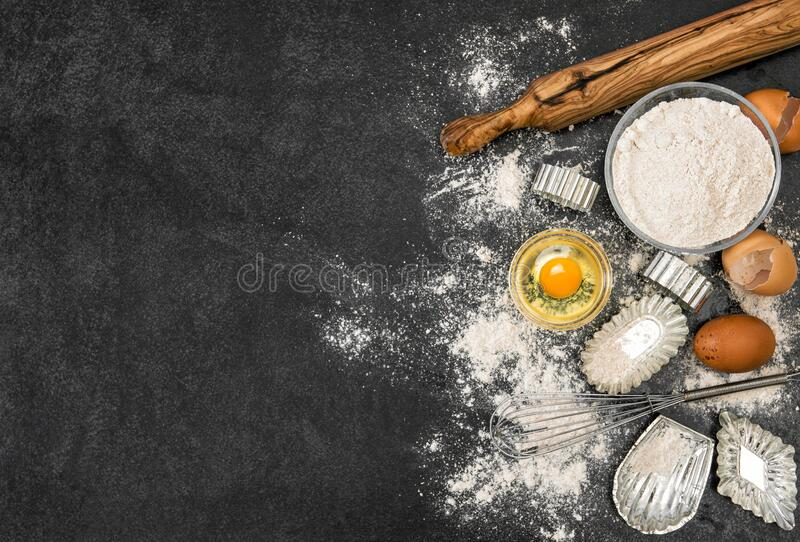 Flour eggs cookie forms Baking ingredients dough preparation royalty free stock image