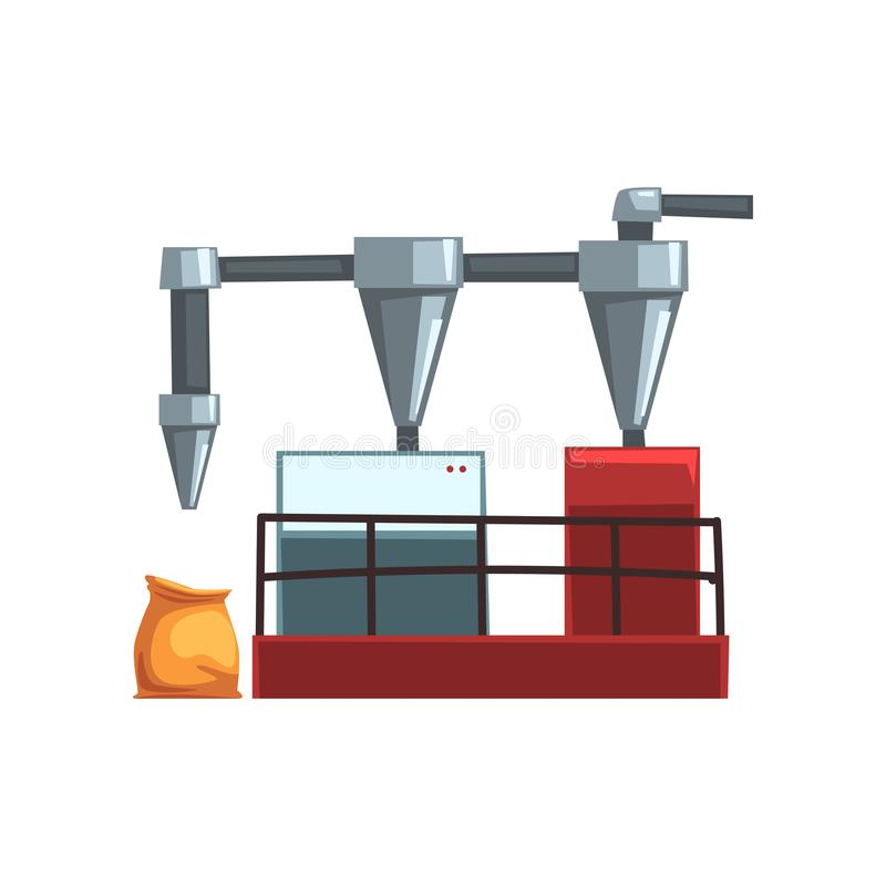 Flour grinding, equipment for bread production vector Illustration on a white background stock illustration