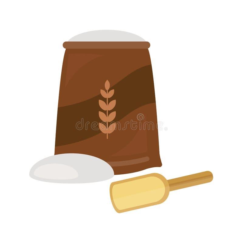 Flour le petit déjeuner cuit au four frais de casse-croûte de grain de pâtisserie de seigle de pain de blé de boulangerie d'isole illustration stock