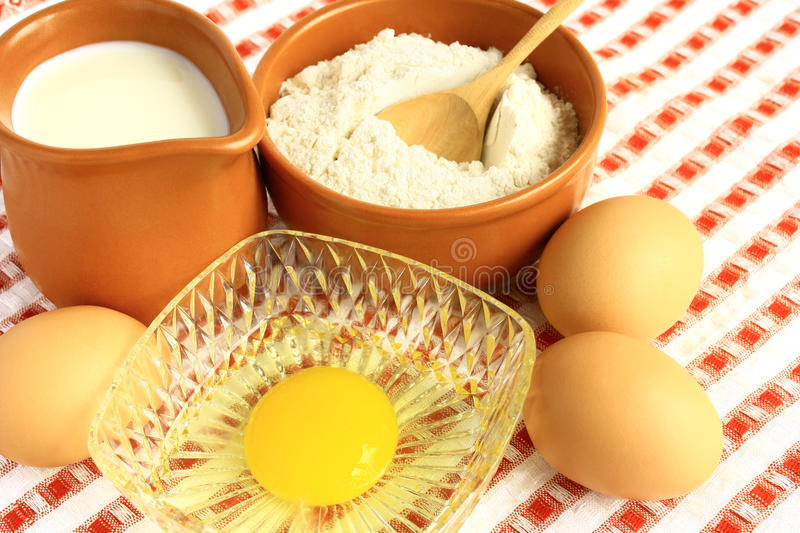 Download Flour, milk and eggs stock image. Image of yolk, food - 27246411