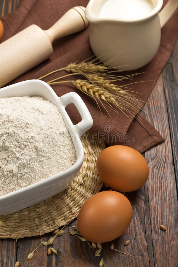 Flour, milk and eggs stock photos