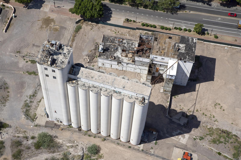 Flour Mill. Aerial view of the historic Hayden Flour Mill in downtown Tempe, Arizona stock images
