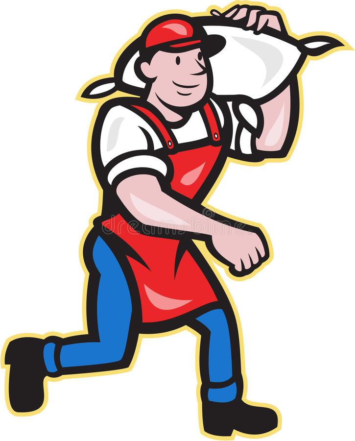 Flour Miller Carry Sack Walking Cartoon Stock Vector