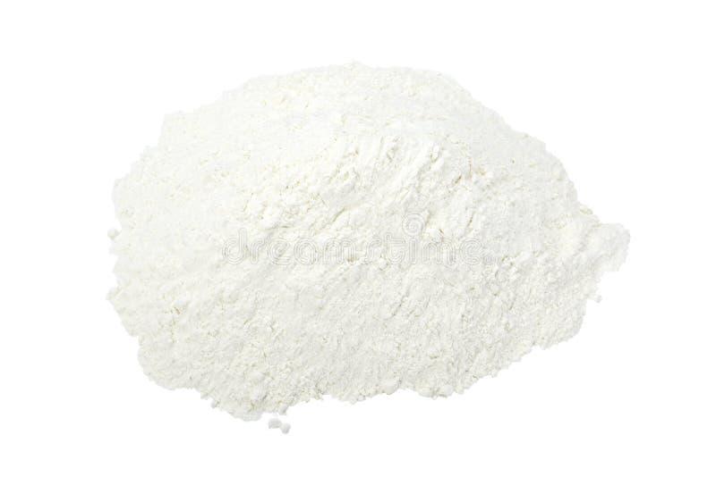 Flour powder. Close up of white baking flour powder on white background with clipping path royalty free stock photo