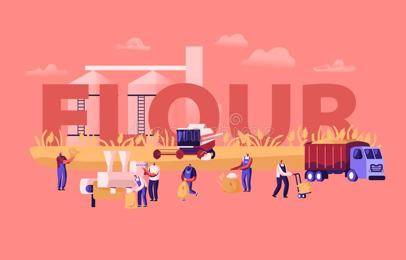 Flour Producing Concept. Wheat Manufacture Process, Bread Industry. People Growing, Mowing and Gathering Cereal Harvest vector illustration
